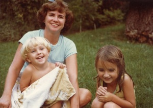 My mom, very little brother, and me