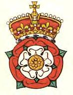 The Tudor Rose crest, which combines the red rose of the House of Lancaster and the white rose of the House of York