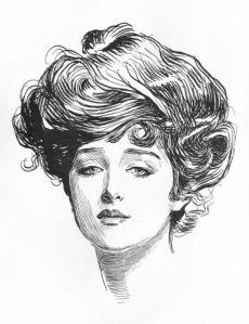 Classic Gibson Girl design - 1891 - Wikicommons