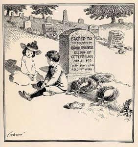"The caption of this political cartoon from 1900 by John T. McCutcheon was: ""You bet I'm goin' to be a soldier, too, like my Uncle David, when I grow up."""