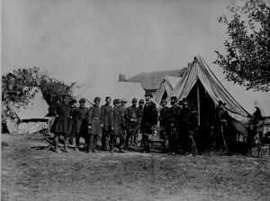 Lincoln visiting the battlefield at Antietam