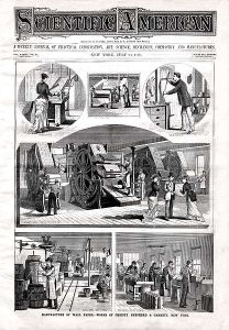The cover of Scientific American, July of 1880, depicting a wallpaper factory.
