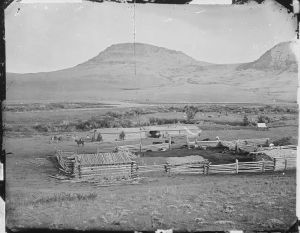 A ranch in Montana in 1872.  Already the Open Range was disappearing. courtesy of the U.S. National Archives and Records Administration, via Wikicommons