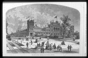 The main building of the Centennial Exhibition in Philadelphia, 1876