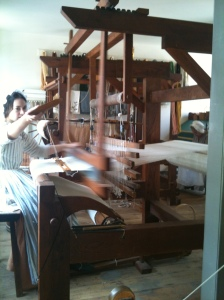 Weaving with technology that was mostly unchanged since the Middle Ages