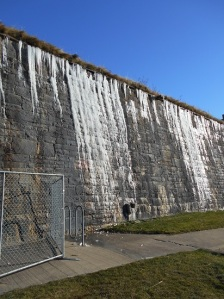 One of the walls at the Citadel.  THIS is how cold it was!  Yes, those are icicles!