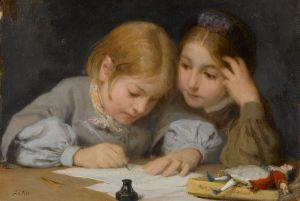 800px-Albert_Anker_(1831-1910),_Schreibunterricht,_1865__Oil_on_canvas